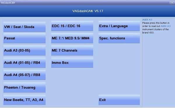 VAG DASH K+CAN Vag Dash Com 1 65+VAG Dash Can 5 17|VDT013